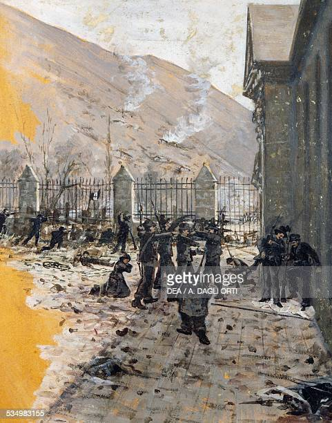 Insurgents of the Ten Days of Brescia in Porta Torrelunga by an unknown Brescian artist at the end of the 19th century tempera Brescia Museo Civico...