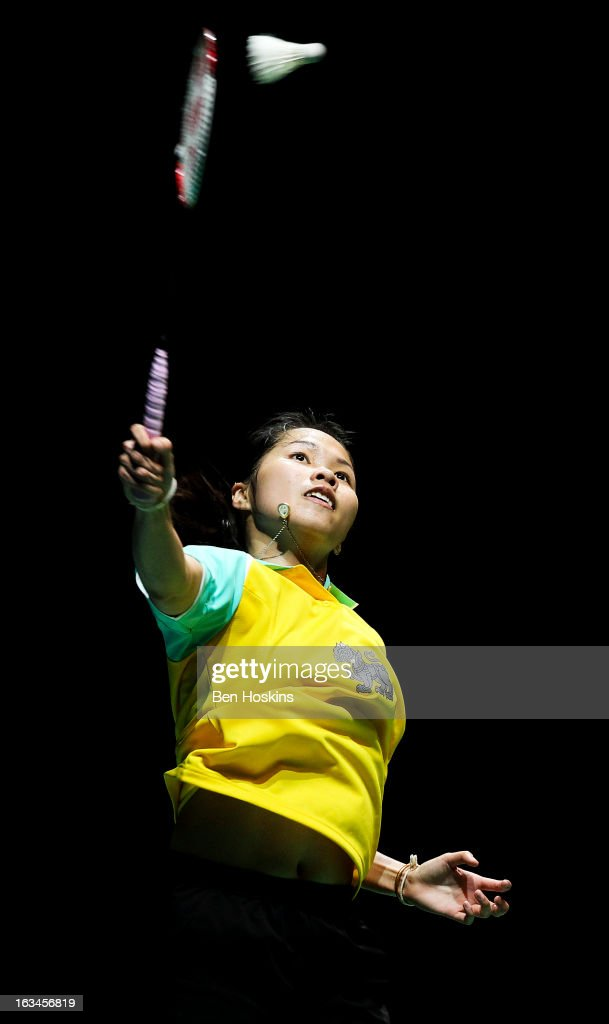 Intanon Ratchanok of Thailand in action during Day 6 of the Yonex All England Badminton Open at NIA Arena on March 10, 2013 in Birmingham, England.