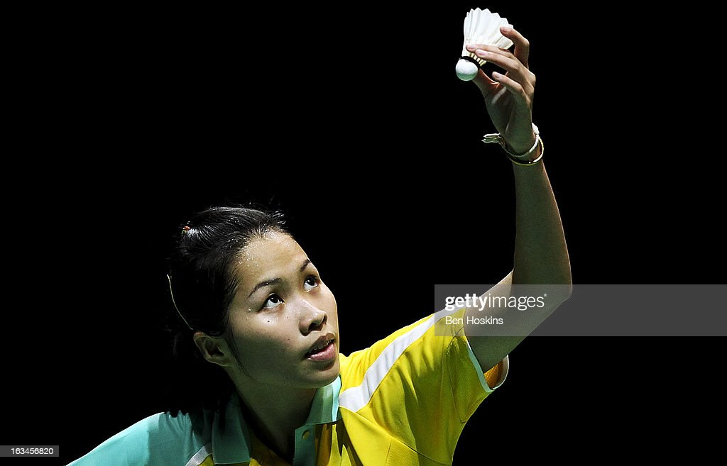 Intanon Ratchanok of Thailand prepares to serve during Day 6 of the Yonex All England Badminton Open at NIA Arena on March 10, 2013 in Birmingham, England.