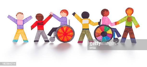 Integration of handicapped people - paper cutouts