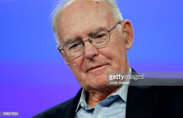Intel cofounder Gordon Moore listens during a conversation with National Public Radio host Dr Moira Gunn at the 2007 Intel Developer Forum September...