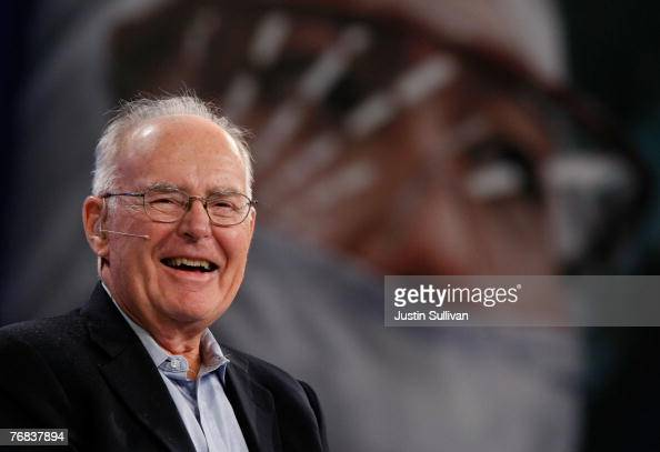 Intel cofounder Gordon Moore smiles as he speaks during a conversation with National Public Radio host Dr Moira Gunn at the 2007 Intel Developer...