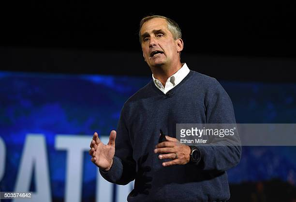 Intel Corp CEO Brian Krzanich delivers a keynote address at CES 2016 at The Venetian Las Vegas on January 5 2016 in Las Vegas Nevada CES the world's...