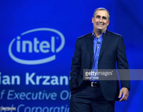 Intel Corp CEO Brian Krzanich delivers a keynote address at the 2015 International CES at The Venetian Las Vegas on January 6 2015 in Las Vegas...