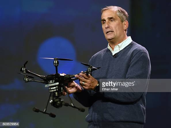 Intel Corp CEO Brian Krzanich displays a Yuneec Typhoon H drone with Intel RealSense technology as he delivers a keynote address at CES 2016 at The...