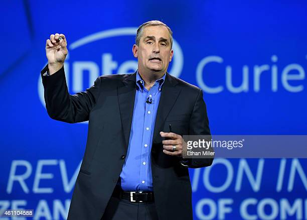 Intel Corp CEO Brian Krzanich unveils a wearable processor called Curie a prototype open source computer the size of a button at the 2015...
