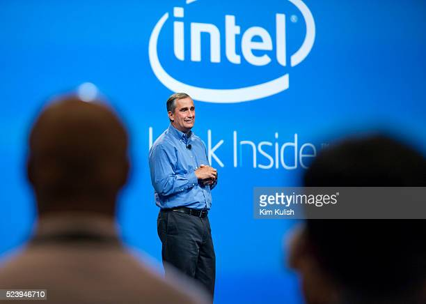 Intel Corporation CEO Brian Krzanich addresses developers with a keynote titled 'Mobilizing Intel' Krzanich showed off new devices including phones...