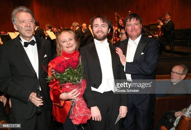 Intendant Prof Dr Peter Ruzicka Pianist Daniil Trifonov receives the 'Herbert von Karajan award' from Eliette von Karajan widow of Herbert von...
