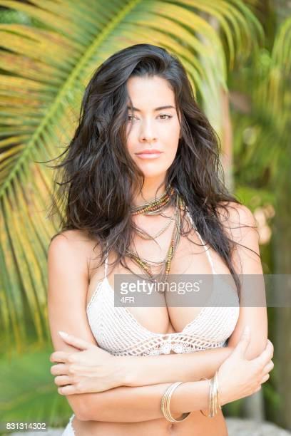 Intense Beauty Bikini Portrait, Palm Tree Garden
