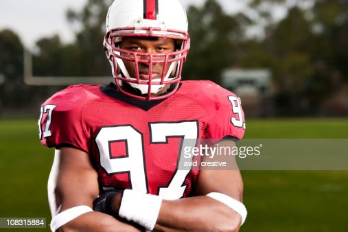 Intent Football Player Portrait
