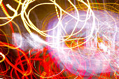 Intentional Camera Movement abstract shot of city lights in the night. City Light Background for design.