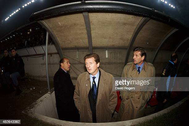 Inter coach Roy Hodgson looks on before the Milan derby at the San Siro stadium on October 29 1995 in Milan Italy