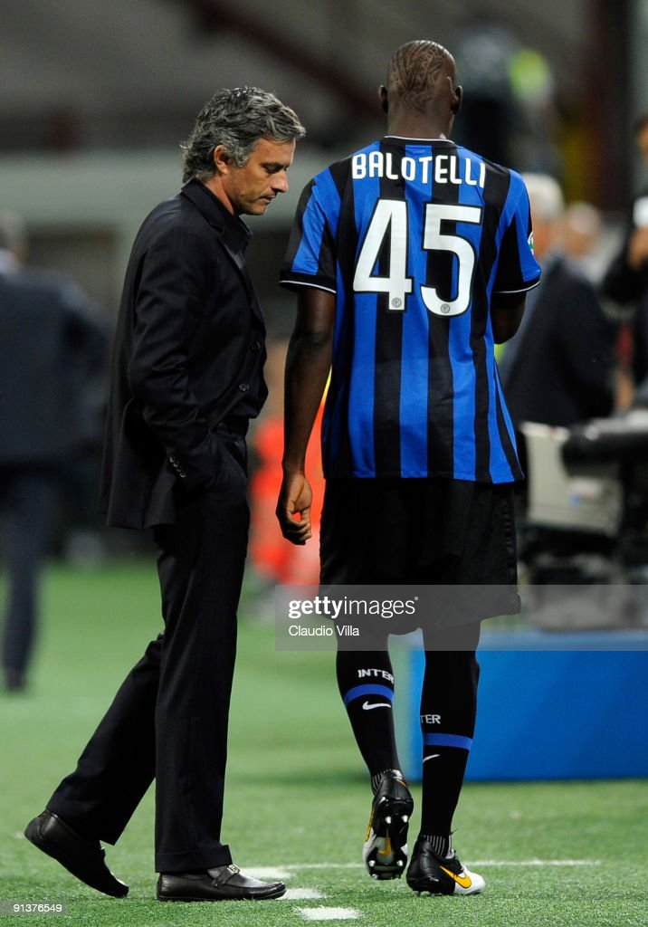 Inter Head Coach Jose Mourinho and Mario Balotelli during the Serie A match between FC Internazionale Milano and Udinese Calcio at Stadio Giuseppe...