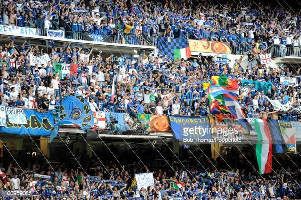 Inter Milan fans during the UEFA Champions League Final match between Bayern Munich and Inter Milan at the Estadio Santiago Bernabeu on May 22 2010...