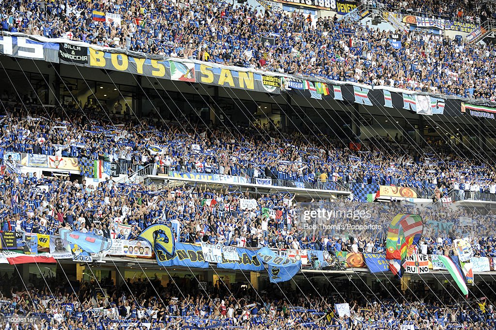 Inter Milan fans during the UEFA Champions League Final match between Bayern Munich and Inter Milan at the Estadio Santiago Bernabeu on May 22, 2010 in Madrid, Spain.