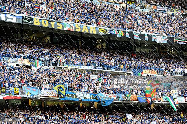 Inter Milan fans during the UEFA Champions League Final match between Bayern Munich and Inter Milan at the Estadio Santiago Bernabeu on May 22 2010...