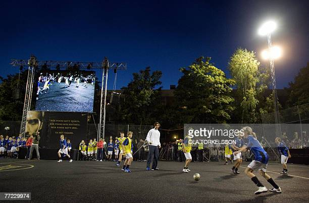 Inter Milan forward and Swedish national soccer team player Zlatan Ibrahimovic plays soccer with children during the inauguration of 'Zlatan Court'...