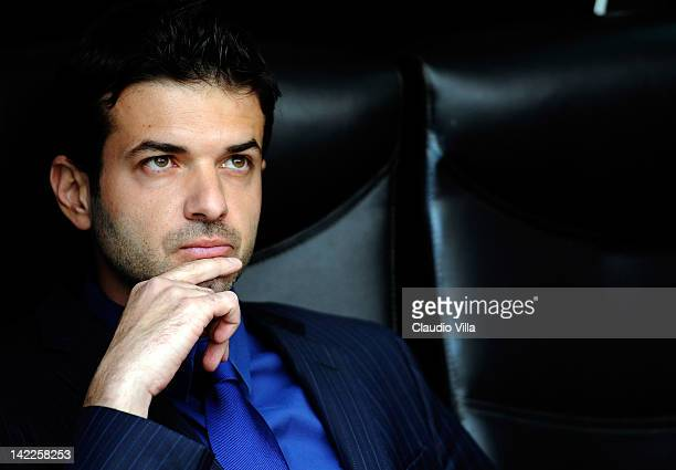 Inter Milan head coach Andrea Stramaccioni looks on during the Serie A match between FC Internazionale Milano and Genoa CFC at Stadio Giuseppe Meazza...