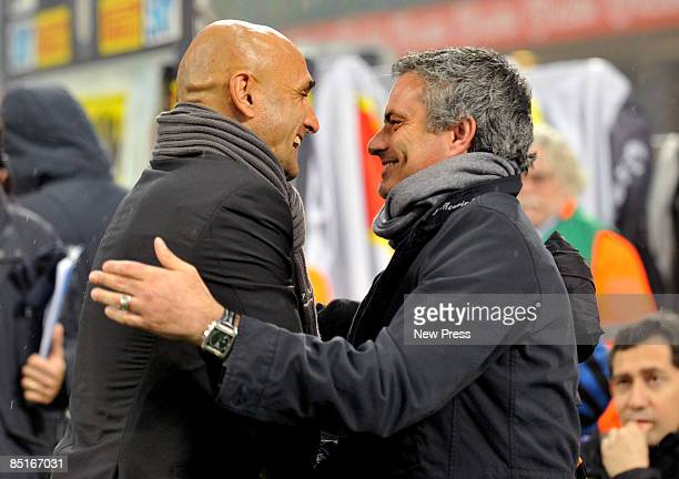 Inter Milan manager Jose Mourinho and Roma manager Luciano Palletti greet each other during the Serie A match between Inter and Roma at the Stadio...