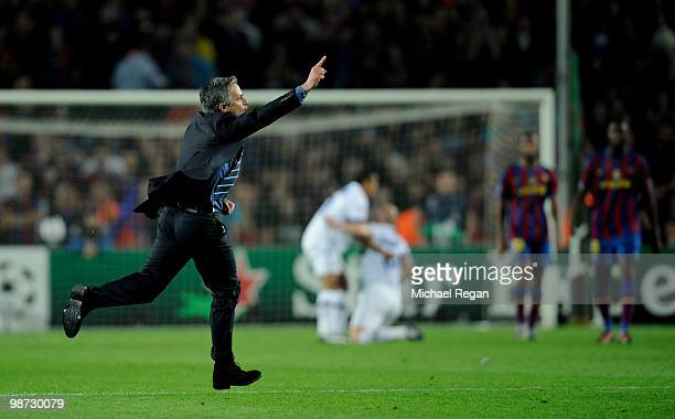 Inter Milan manager Jose Mourinho celebrates on the final whistle after the UEFA Champions League Semi Final Second Leg match between Barcelona and...