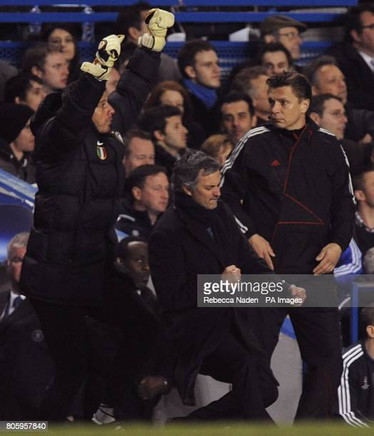 Inter Milan manager Jose Mourinho celebrates on the touchline with Francesco Toldo after Samuel Eto'o scored the opening goal