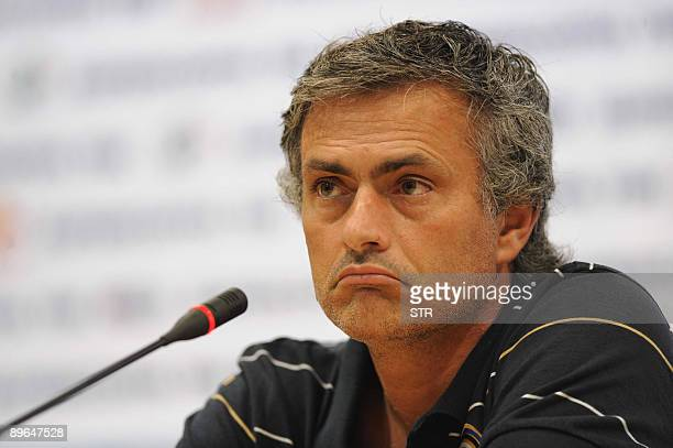 Inter Milan manager Jose Mourinho reacts during a press conference in Beijing on August 6 as his team will play Lazio on August 8 at the China...