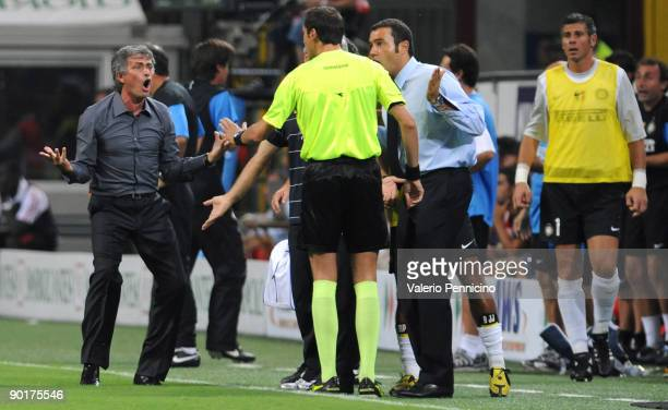 Inter Milan Manager Jose Mourinho reacts during the Serie A match between AC Milan and Inter Milan at Stadio Giuseppe Meazza on August 29 2009 in...