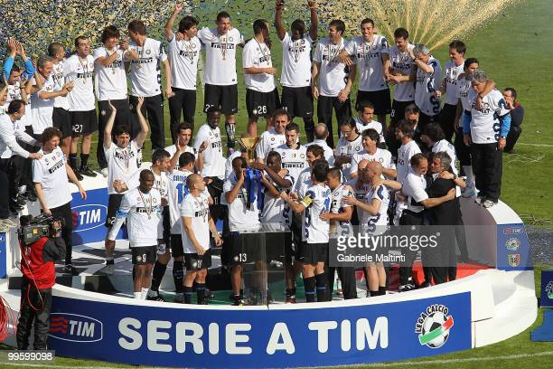 Inter Milan players celebrate taking the Serie A Scudetto after their win over AC Siena at Stadio Artemio Franchi on May 16 2010 in Siena Italy