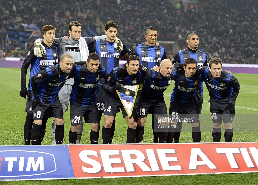 FC Inter Milan players line up for a team photo before the start of the Serie A match FC Internazionale Milano and AC Milan at San Siro Stadium on February 24, 2013 in Milan, Italy.
