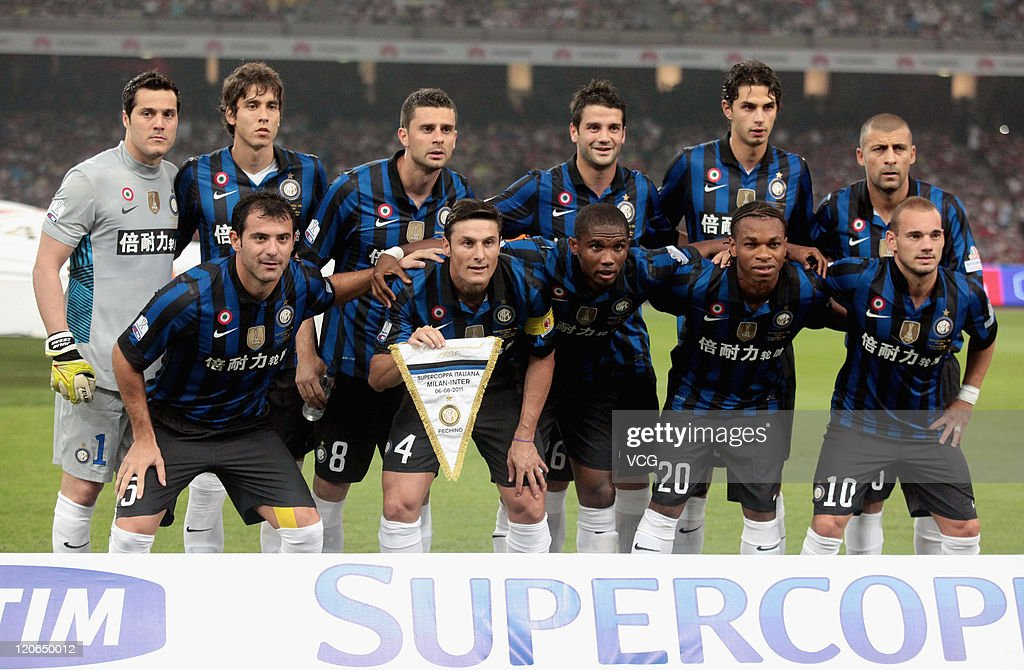 Inter Milan pose for a team photo prior to the Italy Super Cup Final match between AC Milan and Inter Milan at National Stadium on August 6, 2011 in Beijing, China.