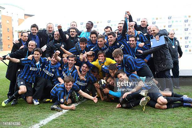 Inter Milan U19 celebrate with the trophy during the NextGen Series Final between Ajax U19 and Inter Milan U19 at Matchroom Stadium on March 25 2012...