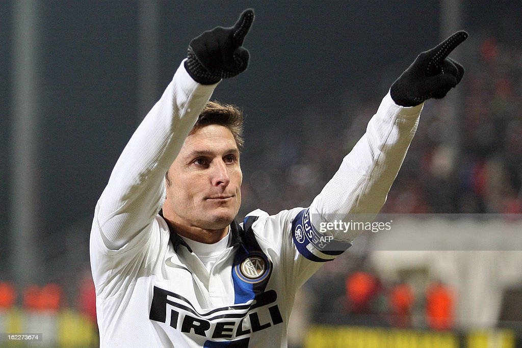 Inter Milan's Argentinian defender Javier Zanetti celebrates after the UEFA Europa League Round of 32 football match CFR 1907 Cluj vs Inter Milan in Cluj, northern Romania on February 21, 2013.