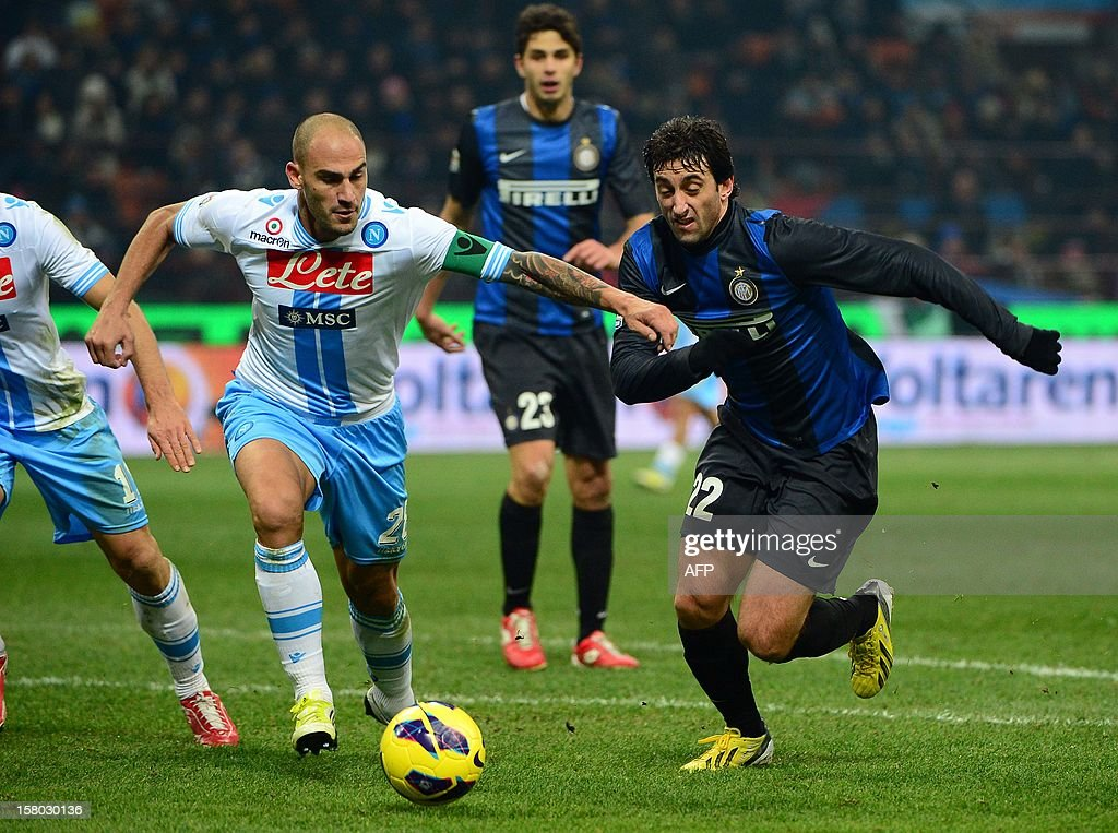 Inter Milan's Argentinian forward Diego Alberto Milito (R) fights for the ball with Napoli's defender Paolo Cannavaro during the Italian serie A football match between Inter MIlan and Napoli on December 9, 2012 at the San Siro stadium in Milan. AFP PHOTO / OLIVIER MORIN