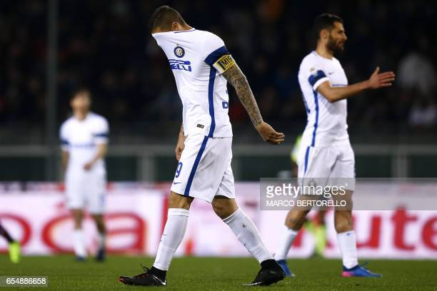 Inter Milan's Argentinian forward Mauro Emanuel Icardi reacts after the Italian Serie A football match Torino versus Inter Milan on March 18 2017 at...