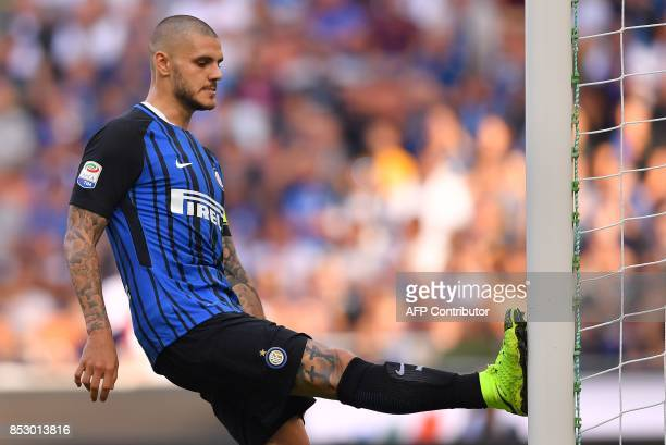 Inter Milan's Argentinian forward Mauro Emanuel Icardi reacts during the Italian Serie A football match Inter Milan vs Genoa on September 24 2017 at...