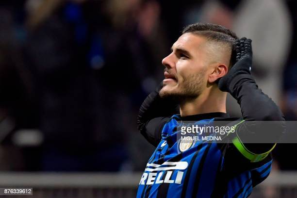 Inter Milan's Argentinian forward Mauro Icardi celebrates after scoring a goal during the Italian Serie A football match between Inter Milan and...