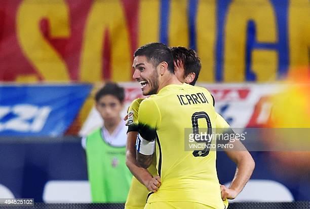 Inter Milan's Argentinian forward Mauro Icardi celebrates after scoring during the Serie A football match Bologna vs InterMilan at Dall'Ara stadium...