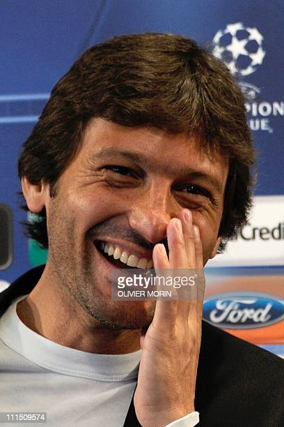 Inter Milan's Brazilian coach Leonardo reacts during a press conference on the eve of his team's quarterfinal Champions League match against Schalke...