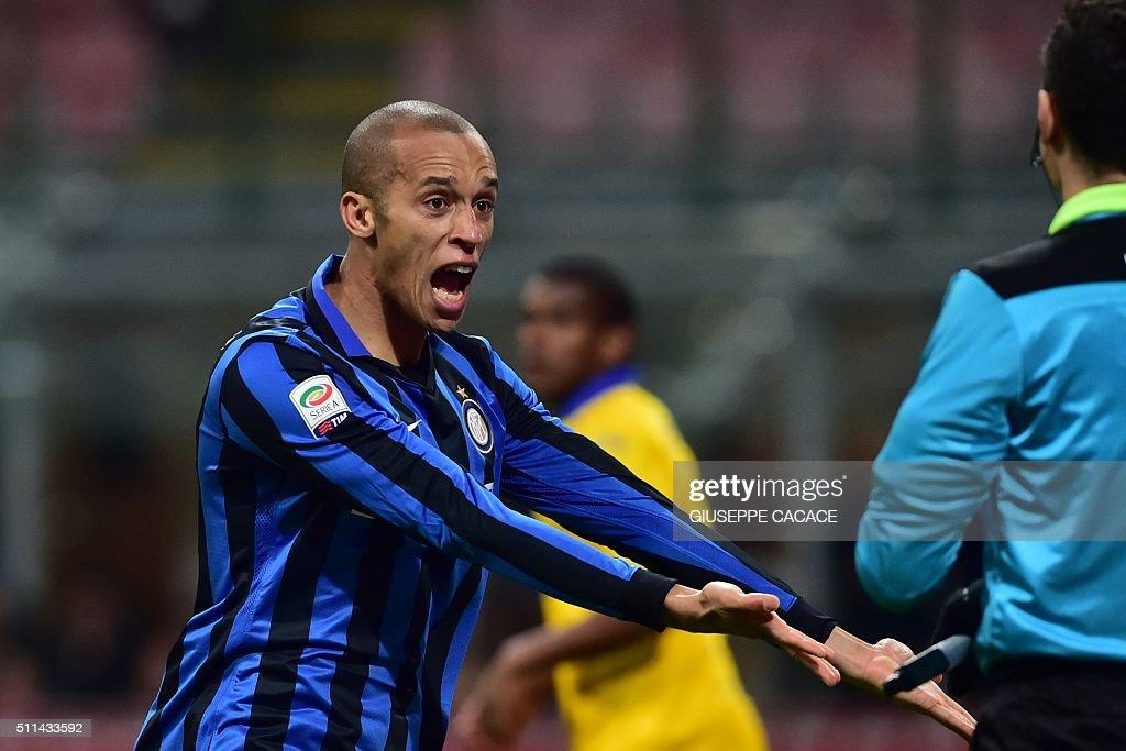 Inter Milan's Brazilian defender Joao Miranda celebrates after scoring a goal during the Italian Serie A football match between Inter Milan and...