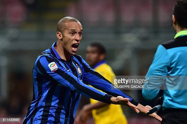 Inter Milan's Brazilian defender Joao Miranda celebrates after scoring a goal during the Italian Serie A football match between Inter Milan and...