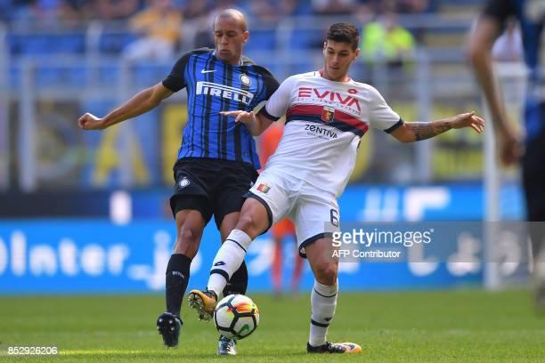 Inter Milan's Brazilian defender Miranda vies with Genoa's Italian forward Pietro Pellegri during the Italian Serie A football match Inter Milan vs...