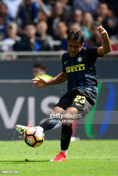 Inter Milan's Brazilian forward Eder kicks the ball during the Italian Serie A football match Inter Milan vs AC Milan at 'San Siro' Stadium in Milan...