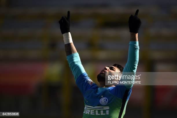 Inter Milan's Brazilian forward Gabriel Barbosa Almeida celebrates after scoring a goal during the italian Serie A football match Bologna vs...