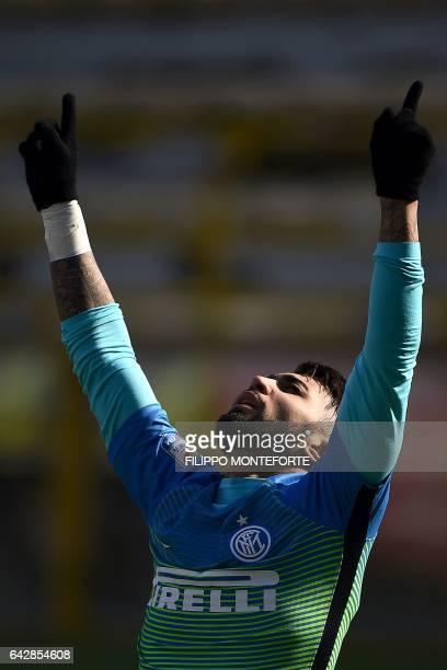 Inter Milan's Brazilian forward Gabriel Barbosa Almeida celebrates after scoring a goal during the italian Serie A football match between Bologna and...