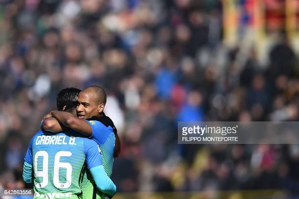 Inter Milan's Brazilian forward Gabriel Barbosa Almeida celebrates with Portuguese midfielder Joao Mario during the italian Serie A football match...