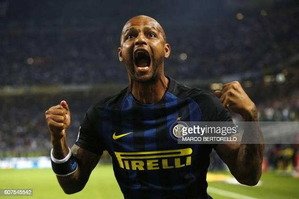 Inter Milan's Brazilian midfielder Felipe Melo celebrates after scoring during the Italian Serie A football match Inter Milan Vs Juventus on...