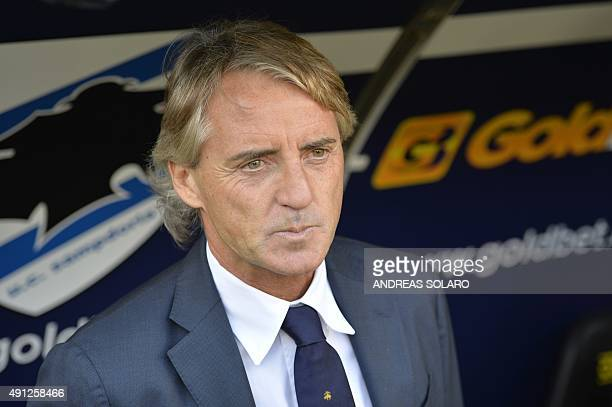 Inter Milan's coach from Italy Roberto Mancini looks on before the Italian Serie A football match Sampdoria vs Inter Milan on October 4 2015 at Luigi...
