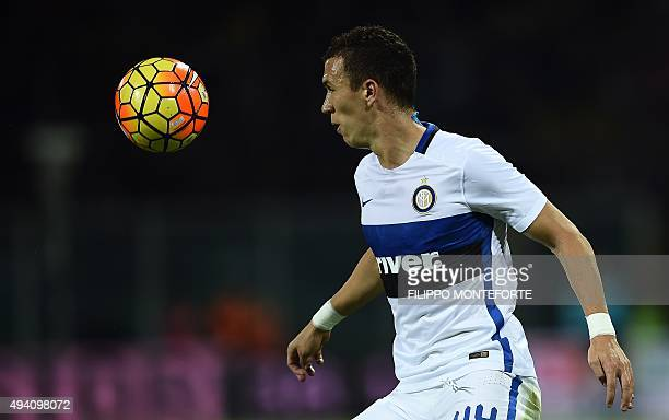Inter Milan's Croatian midfielder Ivan Perisic controls the ball during the Italian Serie A football match between Palermo and Inter Milan at the...