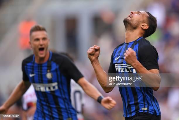 Inter Milan's defender Danilo D'Ambrosio celebrates after scoring during the Italian Serie A football match Inter Milan Vs Genoa on September 24 2017...