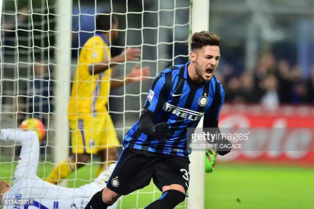 Inter Milan's defender from Italy Danilo D'Ambrosio celebrates after scoring a goal during the Italian Serie A football match Inter Milan vs...